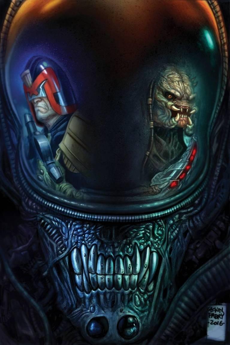 Predator Vs Judge Dredd Vs Aliens #2 (Cover A Glenn Fabry)